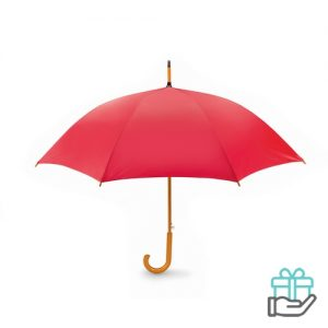 Paraplu automatisch houten handvat rood bedrukken