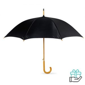 Paraplu automatisch houten handvat zwart bedrukken