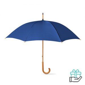 Paraplu handmatig houten handvat blauw bedrukken