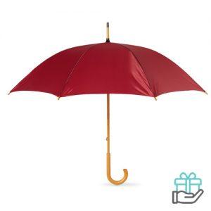 Paraplu handmatig houten handvat bordeaux bedrukken