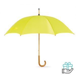 Paraplu handmatig houten handvat geel bedrukken