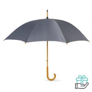 Paraplu handmatig houten handvat grijs bedrukken