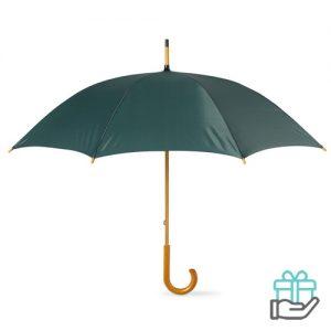 Paraplu handmatig houten handvat groen bedrukken