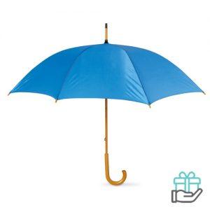 Paraplu handmatig houten handvat koninklijk blauw bedrukken