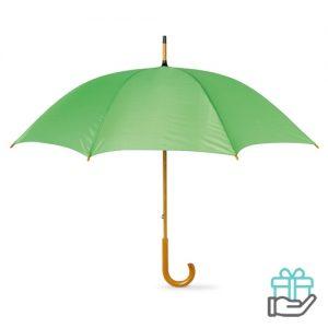 Paraplu handmatig houten handvat limegroen bedrukken