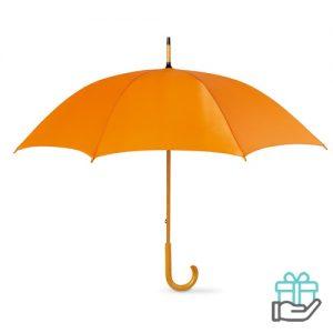 Paraplu handmatig houten handvat oranje bedrukken