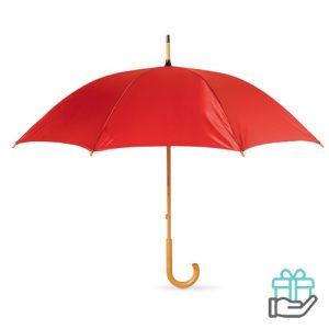 Paraplu handmatig houten handvat rood bedrukken