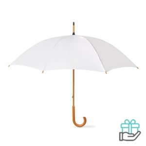 Paraplu handmatig houten handvat wit bedrukken