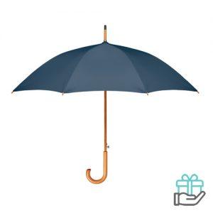 Paraplu houten haak pongee blauw bedrukken
