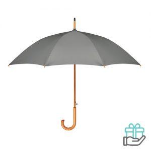 Paraplu houten haak pongee grijs bedrukken