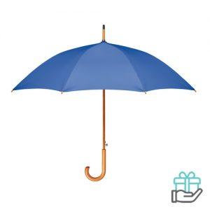 Paraplu houten haak pongee koninklijk blauw bedrukken