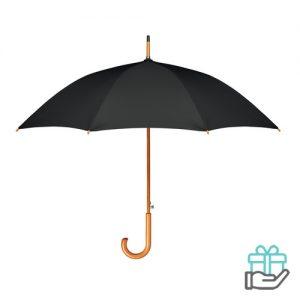 Paraplu houten haak pongee zwart bedrukken