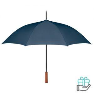 Paraplu pongee houten handvat blauw bedrukken