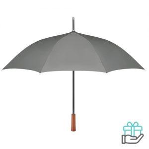 Paraplu pongee houten handvat grijs bedrukken