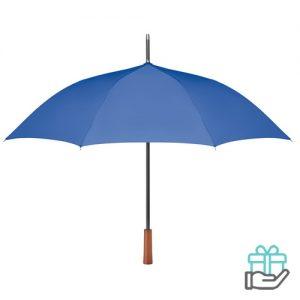 Paraplu pongee houten handvat koninklijk blauw bedrukken