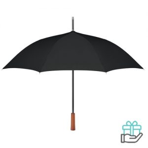 Paraplu pongee houten handvat zwart bedrukken