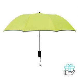 Paraplu reflecterende rand neon groen bedrukken