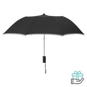 Paraplu reflecterende rand zwart bedrukken