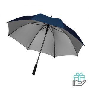 Paraplu zwarte stok 27 inch blauw bedrukken