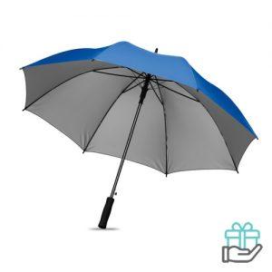 Paraplu zwarte stok 27 inch koninklijk blauw bedrukken