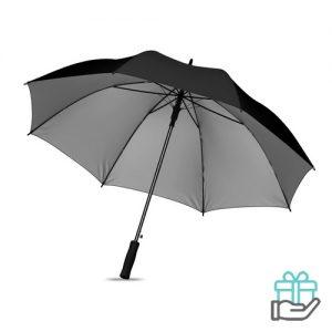 Paraplu zwarte stok 27 inch zwart bedrukken