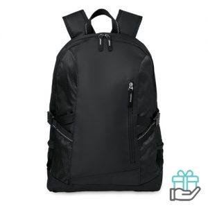 Polyester 15 inch laptoprugtas zwart bedrukken