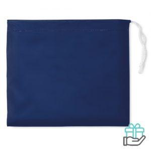 Poncho capuchon blauw bedrukken