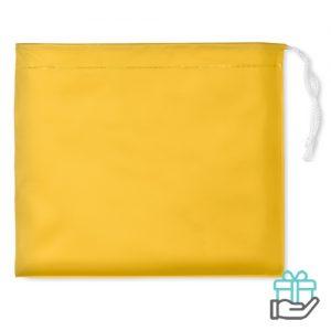 Poncho capuchon geel bedrukken