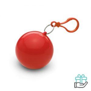 Poncho kunststof bal rood bedrukken