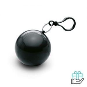 Poncho kunststof bal zwart bedrukken