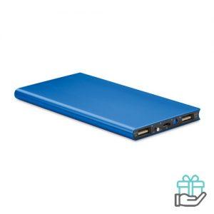 PowerBank 8000mAh alu koninklijk blauw bedrukken