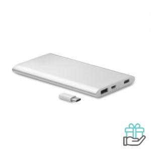 PowerBank USB C 4000mAh mat zilver bedrukken