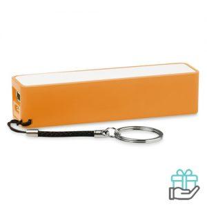 PowerBank sleutelhanger 2200mAh oranje bedrukken