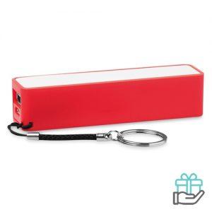 PowerBank sleutelhanger 2200mAh rood bedrukken