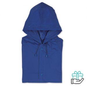 Regenjas drukknoopsluiting blauw bedrukken
