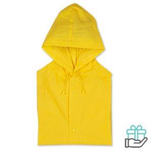 Regenjas drukknoopsluiting geel bedrukken