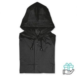 Regenjas drukknoopsluiting zwart bedrukken