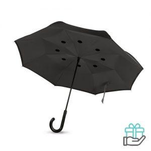 Reversible paraplu grijs bedrukken
