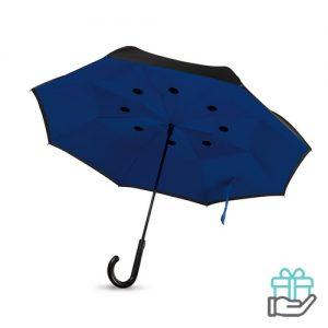 Reversible paraplu koninklijk blauw bedrukken