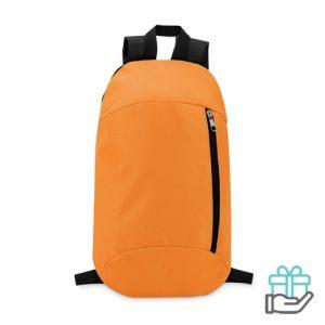 Rugtas compact voorvak oranje bedrukken