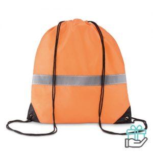 Rugzak koord veilig reflectie neon oranje bedrukken
