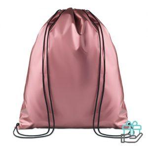 Rugzak metallic gelameerd baby roze bedrukken