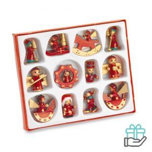 Set 12 houten kerstboomhangers rood bedrukken