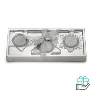 Set 3 glazen kaarshouders mat zilver bedrukken