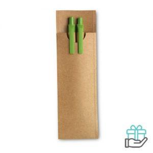 Set potlood en balpen limegroen bedrukken
