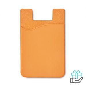 Siliconen kaarthouder tape oranje bedrukken