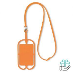 Siliconen telefoonhouder oranje bedrukken