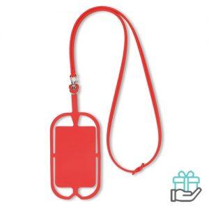 Siliconen telefoonhouder rood bedrukken