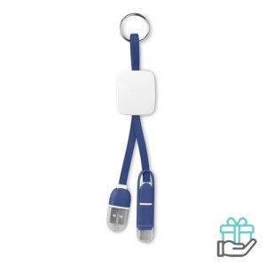 Sleutelhanger USB C micro koninklijk blauw bedrukken