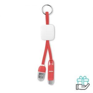 Sleutelhanger USB C micro rood bedrukken